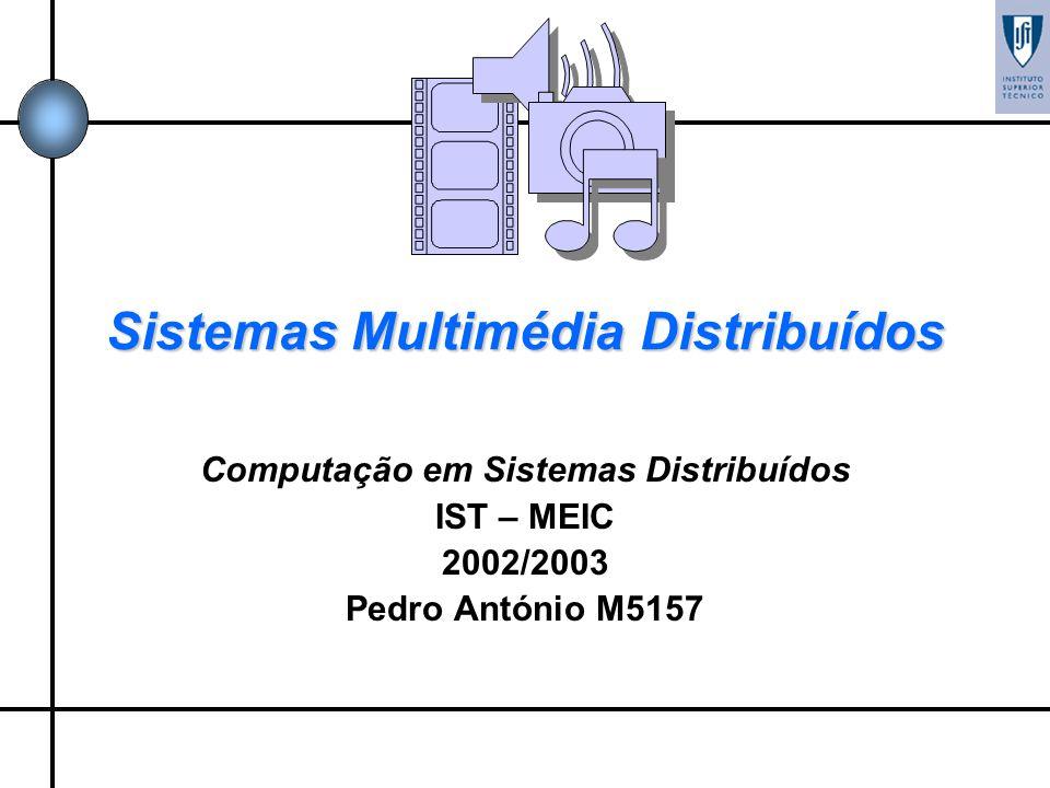 Sistemas Multimédia Distribuídos Computação em Sistemas Distribuídos IST – MEIC 2002/2003 Pedro António M5157