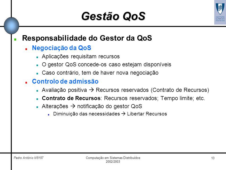 Pedro António M5157Computação em Sistemas Distribuídos 2002/2003 13 Gestão QoS Responsabilidade do Gestor da QoS Negociação da QoS Aplicações requisit