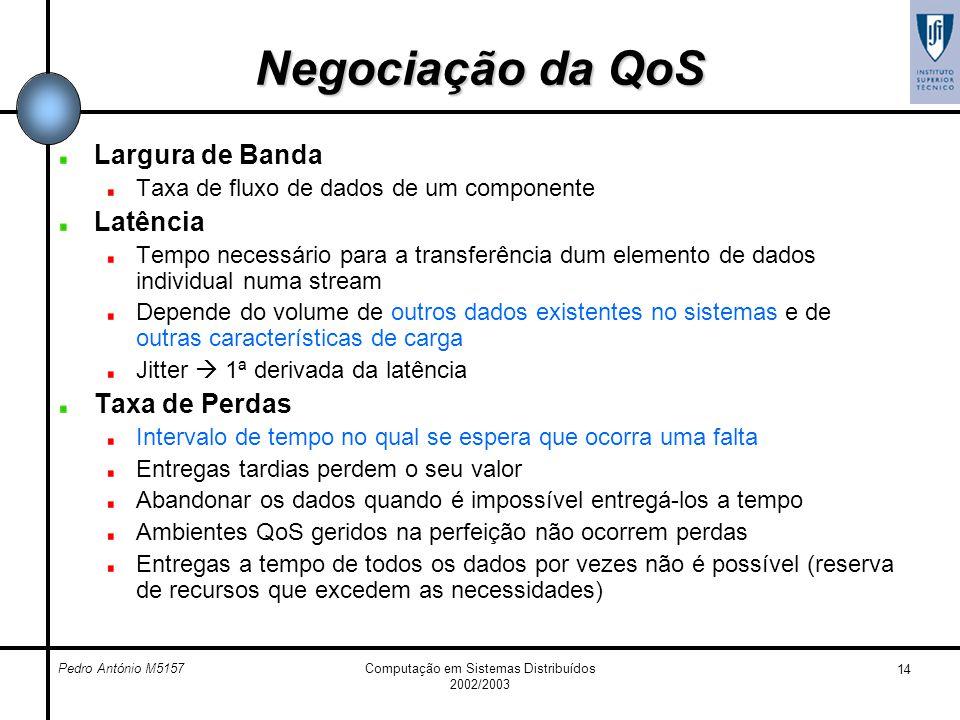 Pedro António M5157Computação em Sistemas Distribuídos 2002/2003 14 Negociação da QoS Largura de Banda Taxa de fluxo de dados de um componente Latênci
