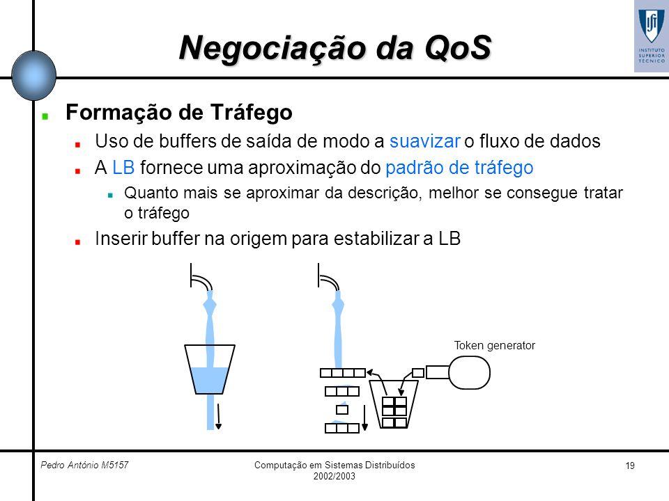 Pedro António M5157Computação em Sistemas Distribuídos 2002/2003 19 Negociação da QoS Formação de Tráfego Uso de buffers de saída de modo a suavizar o