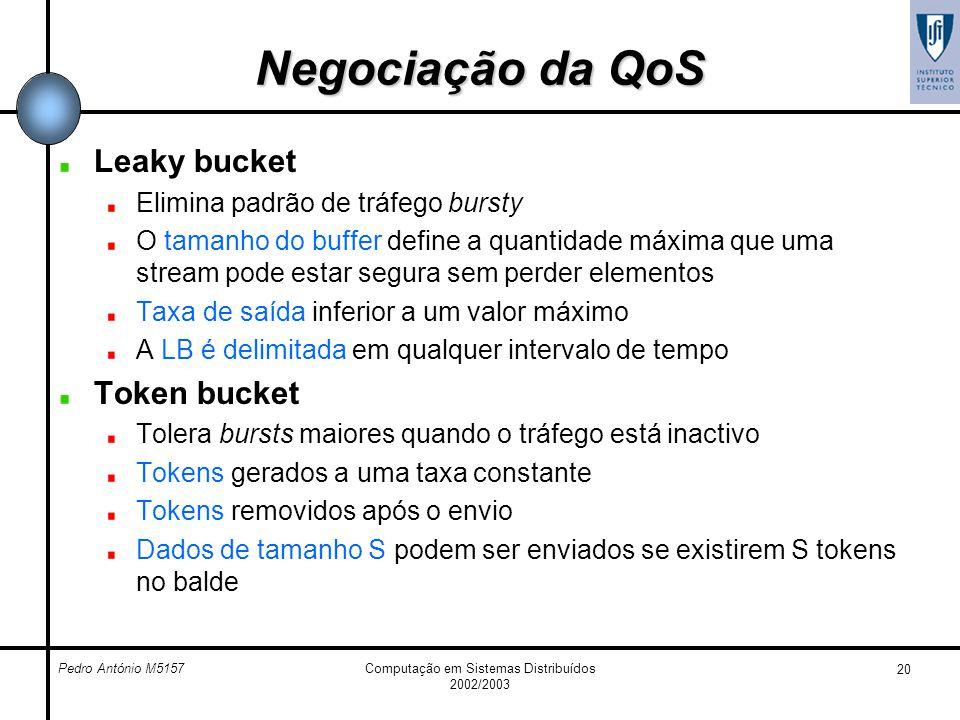 Pedro António M5157Computação em Sistemas Distribuídos 2002/2003 20 Negociação da QoS Leaky bucket Elimina padrão de tráfego bursty O tamanho do buffe