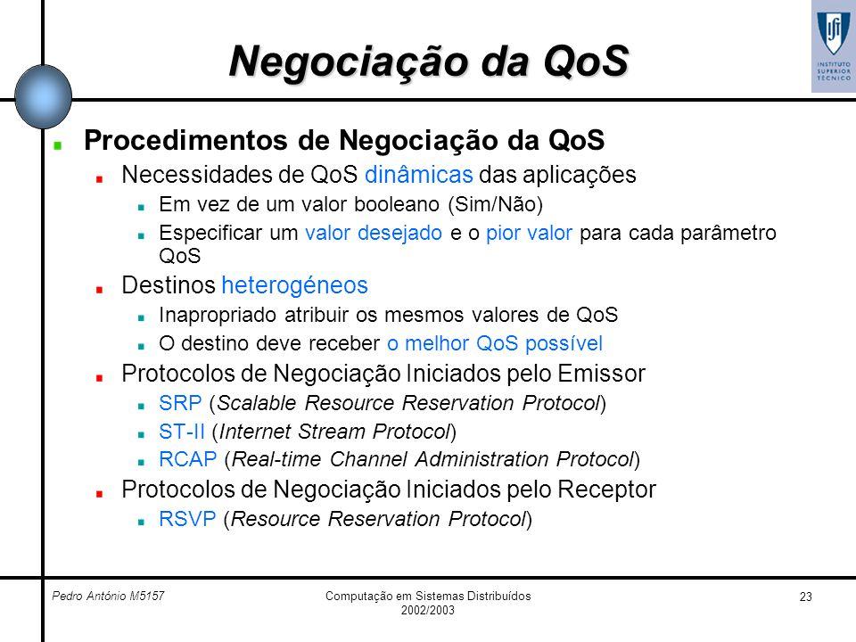 Pedro António M5157Computação em Sistemas Distribuídos 2002/2003 23 Negociação da QoS Procedimentos de Negociação da QoS Necessidades de QoS dinâmicas