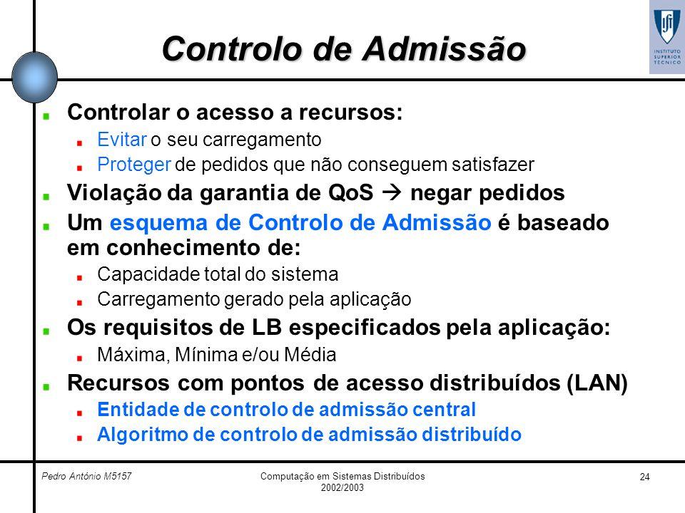 Pedro António M5157Computação em Sistemas Distribuídos 2002/2003 24 Controlo de Admissão Controlar o acesso a recursos: Evitar o seu carregamento Prot