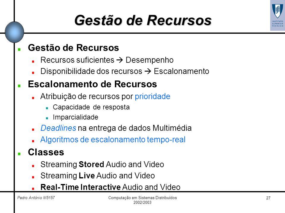 Pedro António M5157Computação em Sistemas Distribuídos 2002/2003 27 Gestão de Recursos Recursos suficientes Desempenho Disponibilidade dos recursos Es