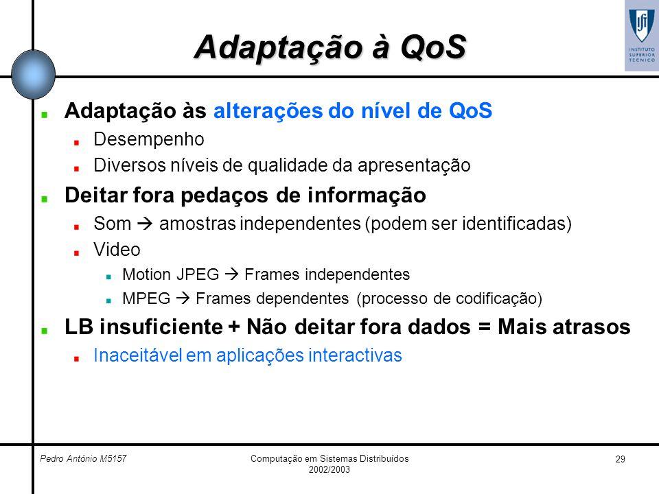Pedro António M5157Computação em Sistemas Distribuídos 2002/2003 29 Adaptação à QoS Adaptação às alterações do nível de QoS Desempenho Diversos níveis