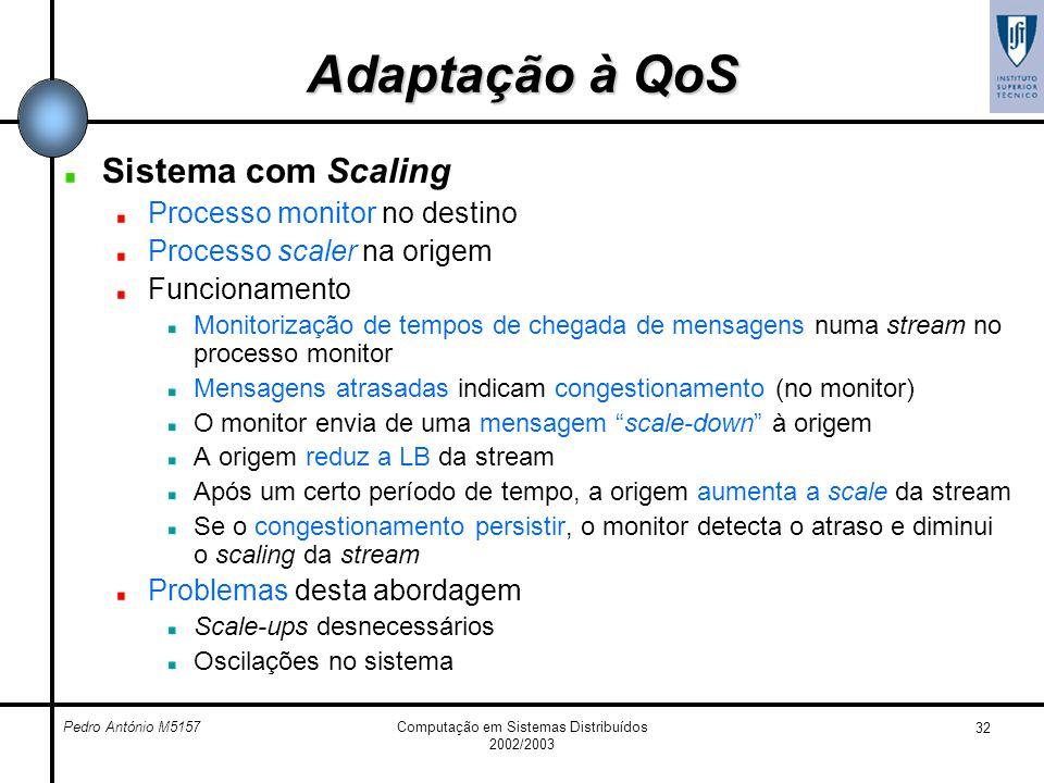 Pedro António M5157Computação em Sistemas Distribuídos 2002/2003 32 Adaptação à QoS Sistema com Scaling Processo monitor no destino Processo scaler na