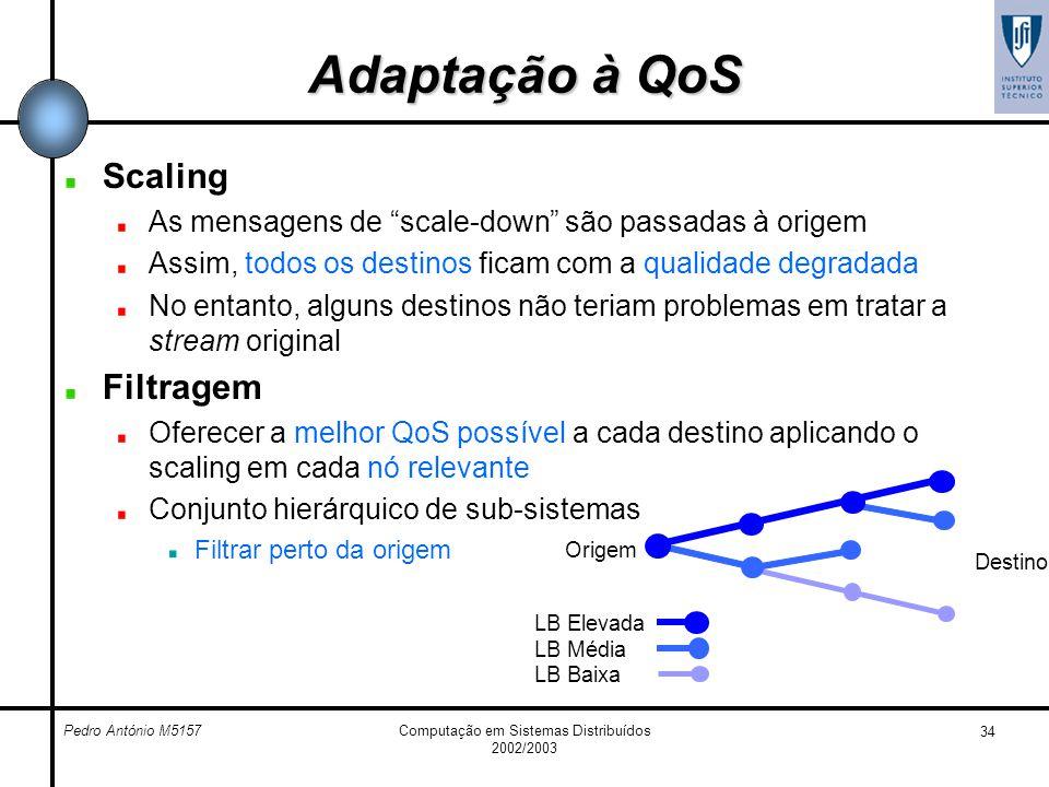 Pedro António M5157Computação em Sistemas Distribuídos 2002/2003 34 Adaptação à QoS Scaling As mensagens de scale-down são passadas à origem Assim, to