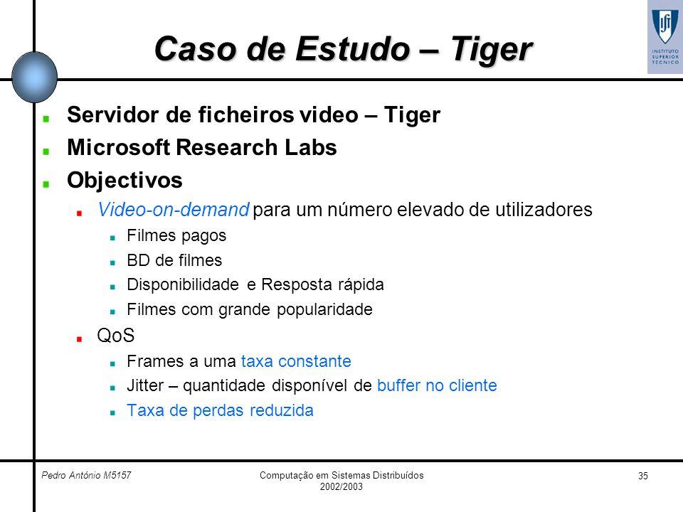 Pedro António M5157Computação em Sistemas Distribuídos 2002/2003 35 Caso de Estudo – Tiger Servidor de ficheiros video – Tiger Microsoft Research Labs