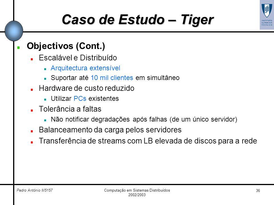 Pedro António M5157Computação em Sistemas Distribuídos 2002/2003 36 Caso de Estudo – Tiger Objectivos (Cont.) Escalável e Distribuído Arquitectura ext