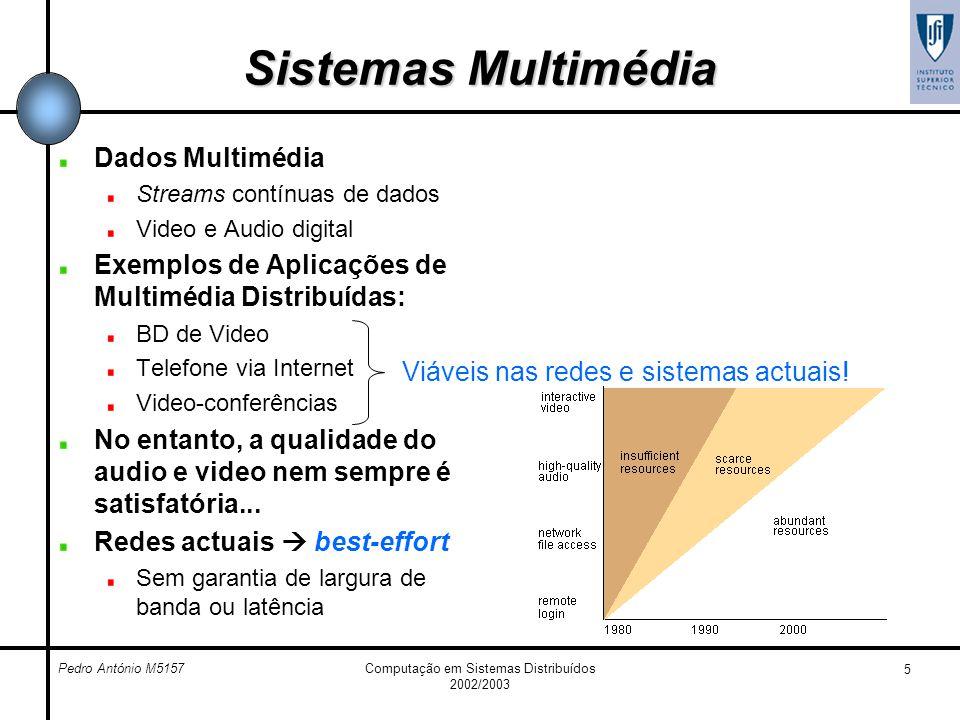 Pedro António M5157Computação em Sistemas Distribuídos 2002/2003 5 Sistemas Multimédia Dados Multimédia Streams contínuas de dados Video e Audio digit