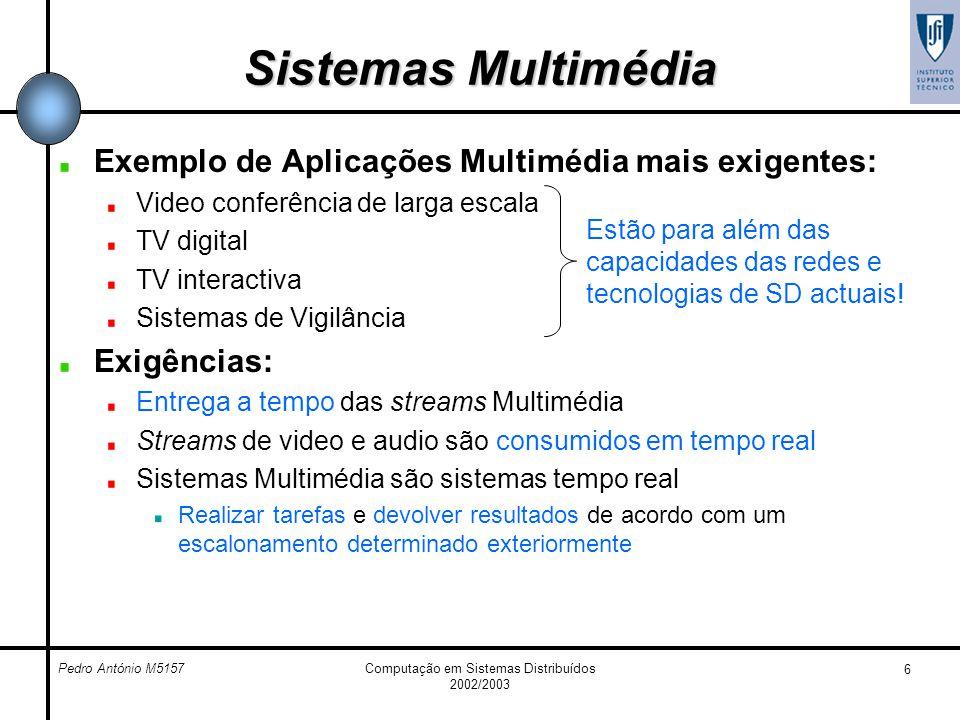 Pedro António M5157Computação em Sistemas Distribuídos 2002/2003 6 Sistemas Multimédia Exemplo de Aplicações Multimédia mais exigentes: Video conferên