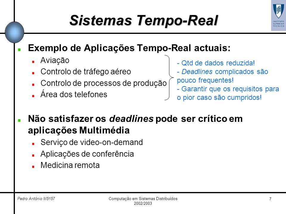 Pedro António M5157Computação em Sistemas Distribuídos 2002/2003 7 Sistemas Tempo-Real Exemplo de Aplicações Tempo-Real actuais: Aviação Controlo de t
