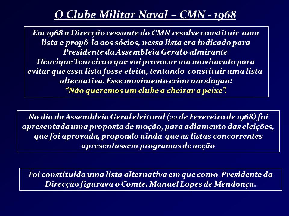 O Clube Militar Naval – CMN - 1968 Em 1968 a Direcção cessante do CMN resolve constituir uma lista e propô-la aos sócios, nessa lista era indicado par