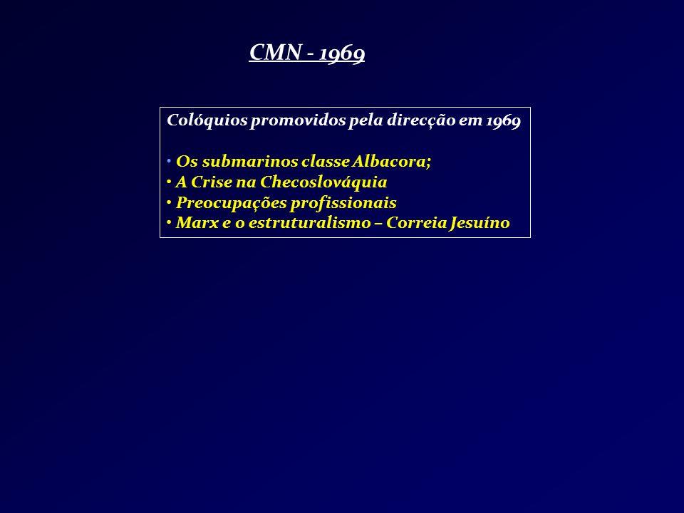 CMN - 1969 Colóquios promovidos pela direcção em 1969 Os submarinos classe Albacora; A Crise na Checoslováquia Preocupações profissionais Marx e o est