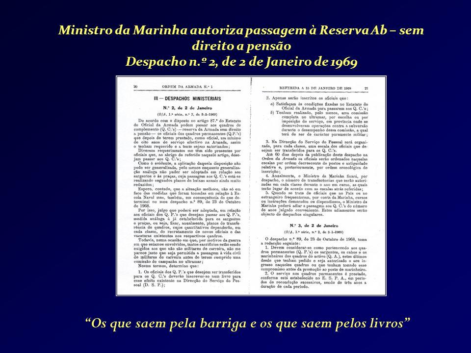 Ministro da Marinha autoriza passagem à Reserva Ab – sem direito a pensão Despacho n.º 2, de 2 de Janeiro de 1969 Os que saem pela barriga e os que sa