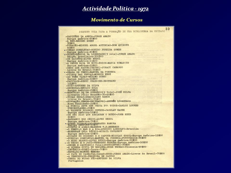 Actividade Política - 1972 Movimento de Cursos