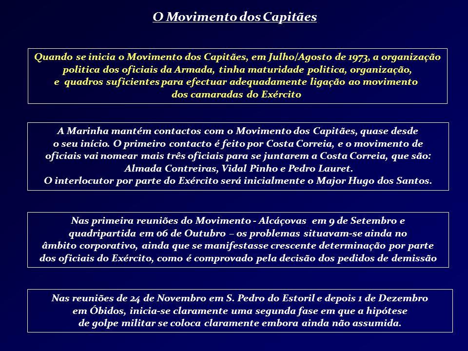 O Movimento dos Capitães A Marinha mantém contactos com o Movimento dos Capitães, quase desde o seu início. O primeiro contacto é feito por Costa Corr