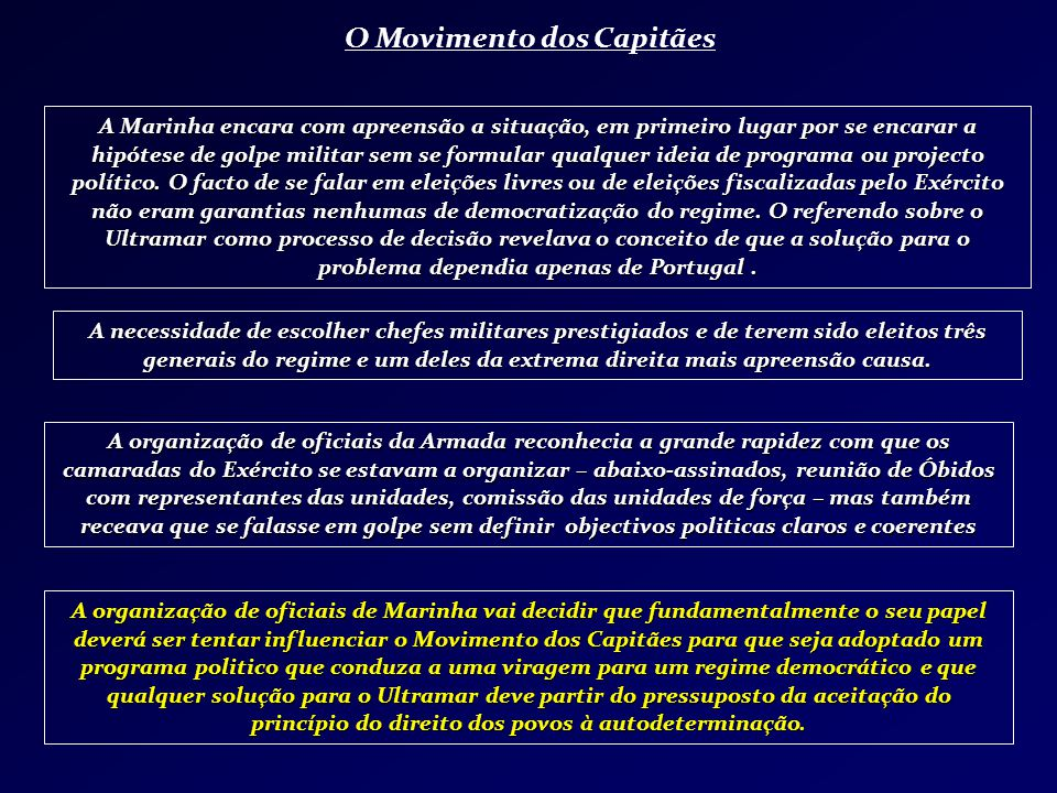 O Movimento dos Capitães A Marinha encara com apreensão a situação, em primeiro lugar por se encarar a hipótese de golpe militar sem se formular qualq