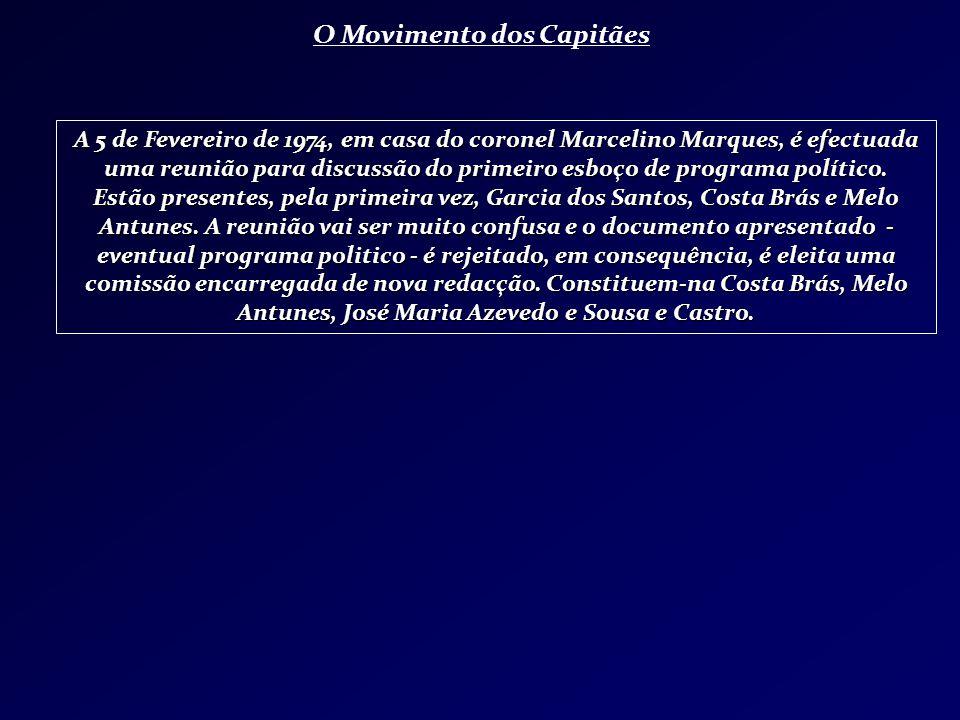 O Movimento dos Capitães A 5 de Fevereiro de 1974, em casa do coronel Marcelino Marques, é efectuada uma reunião para discussão do primeiro esboço de