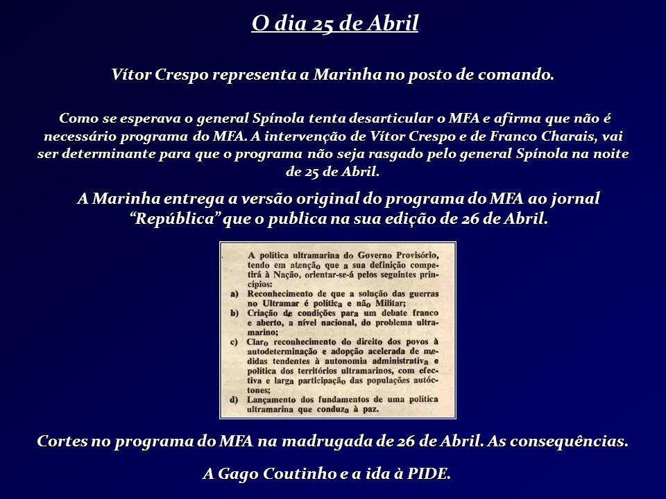 O dia 25 de Abril A Marinha entrega a versão original do programa do MFA ao jornal República que o publica na sua edição de 26 de Abril. Cortes no pro