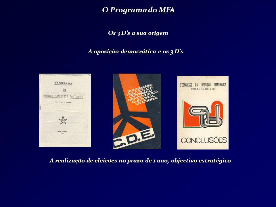 O Programa do MFA Os 3 Ds a sua origem A realização de eleições no prazo de 1 ano, objectivo estratégico A oposição democrática e os 3 Ds