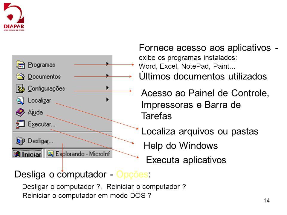 14 Fornece acesso aos aplicativos - exibe os programas instalados: Word, Excel, NotePad, Paint... Últimos documentos utilizados Acesso ao Painel de Co