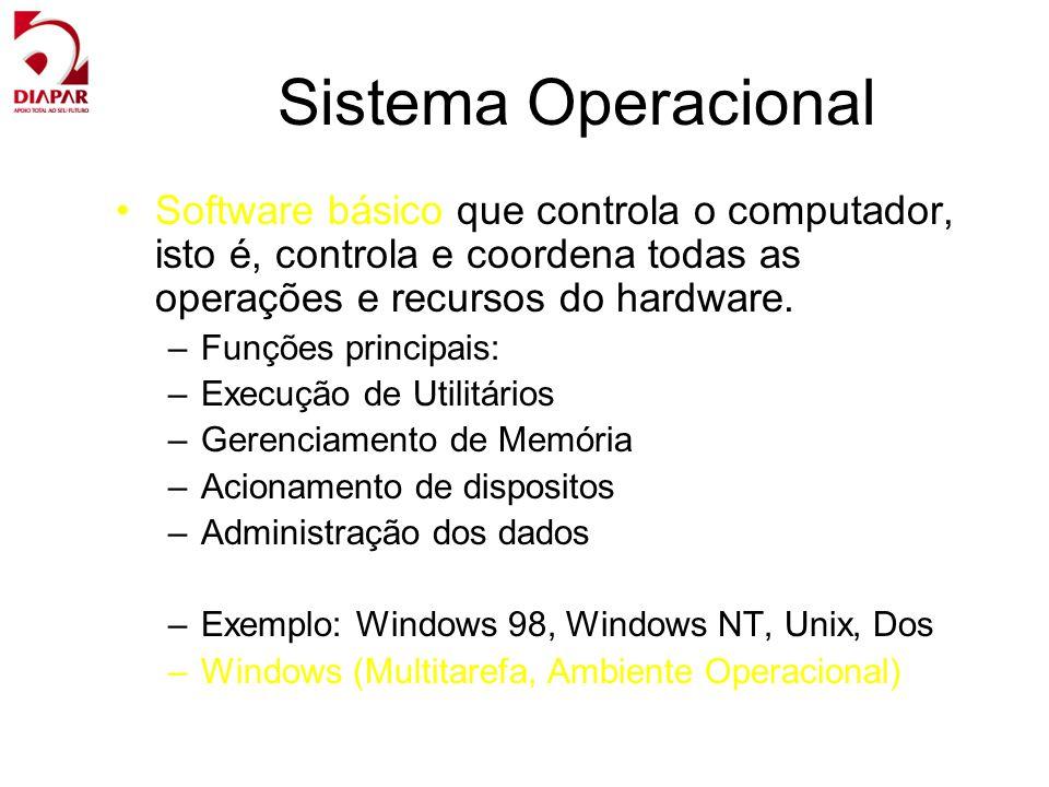 Sistema Operacional Software básico que controla o computador, isto é, controla e coordena todas as operações e recursos do hardware. –Funções princip