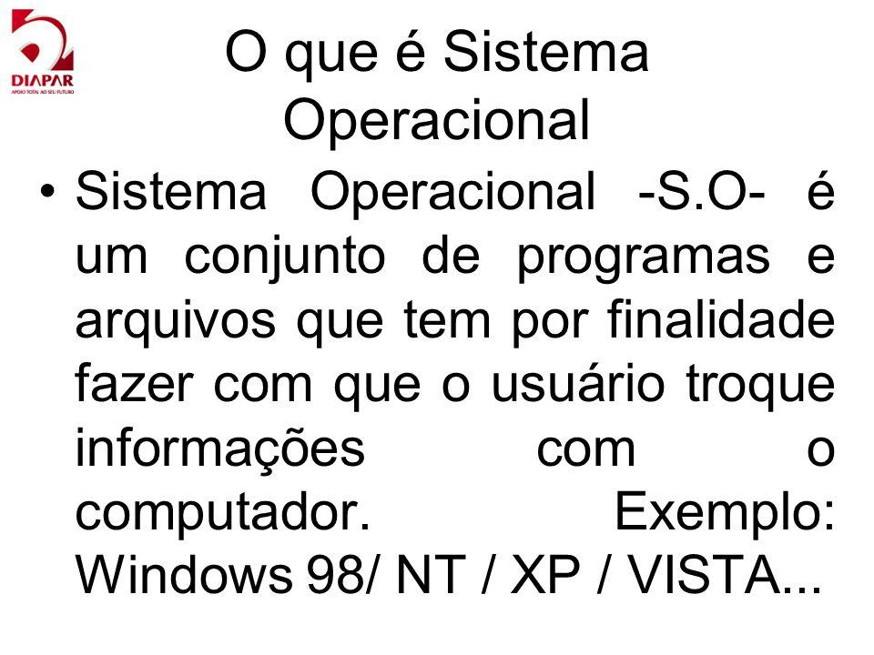 O que é Sistema Operacional Sistema Operacional -S.O- é um conjunto de programas e arquivos que tem por finalidade fazer com que o usuário troque info