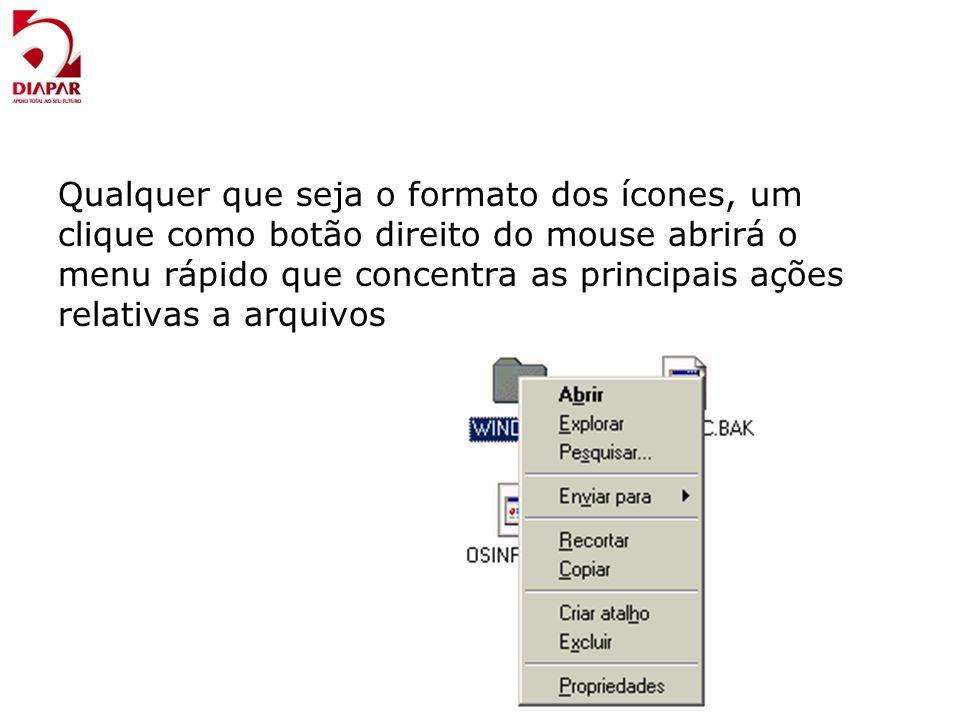 Qualquer que seja o formato dos ícones, um clique como botão direito do mouse abrirá o menu rápido que concentra as principais ações relativas a arqui