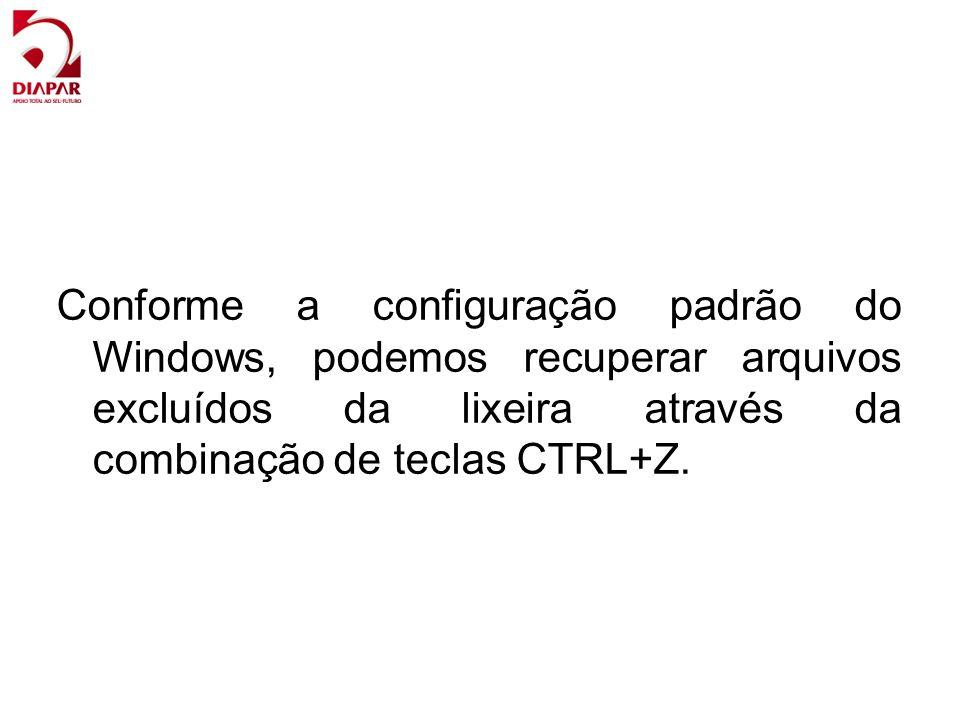 Conforme a configuração padrão do Windows, podemos recuperar arquivos excluídos da lixeira através da combinação de teclas CTRL+Z.