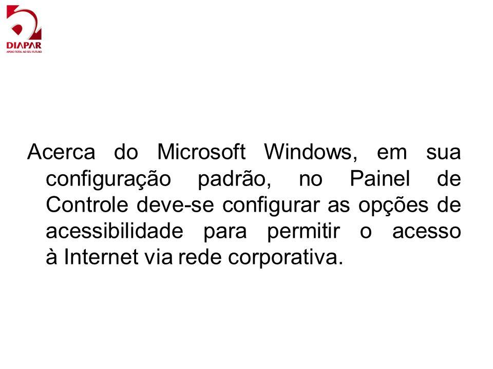 Acerca do Microsoft Windows, em sua configuração padrão, no Painel de Controle deve-se configurar as opções de acessibilidade para permitir o acesso à