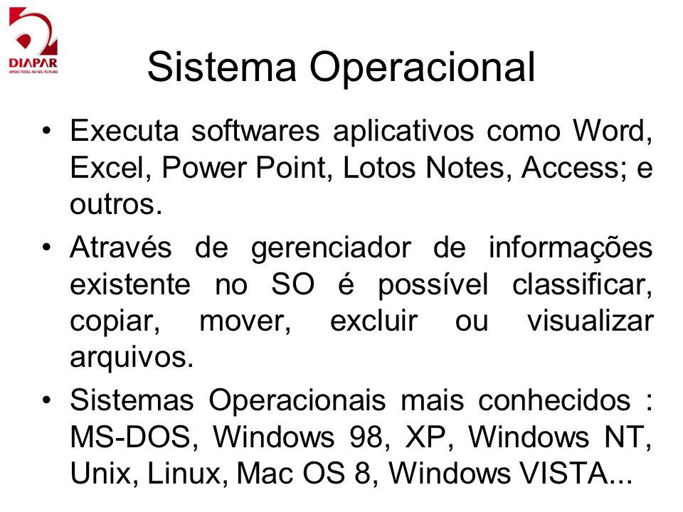 Sistema Operacional Executa softwares aplicativos como Word, Excel, Power Point, Lotos Notes, Access; e outros. Através de gerenciador de informações