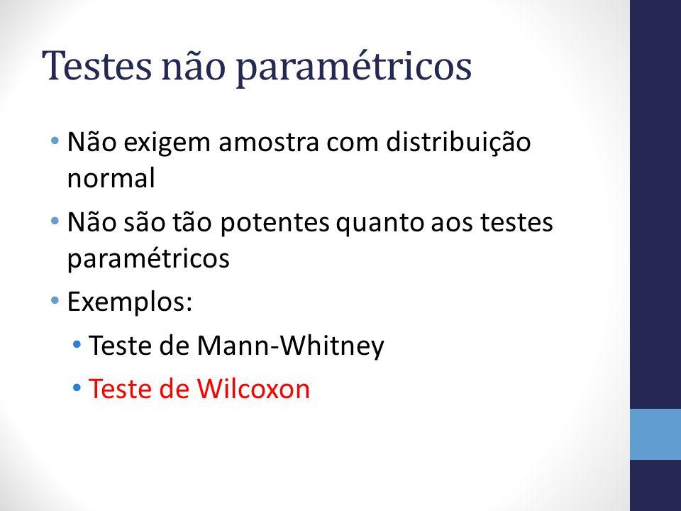 Testes não paramétricos Não exigem amostra com distribuição normal Não são tão potentes quanto aos testes paramétricos Exemplos: Teste de Mann-Whitney