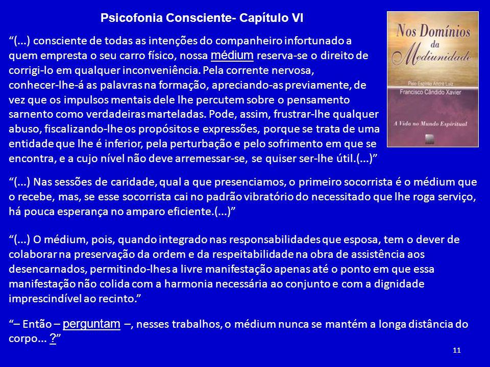 Psicofonia Consciente- Capítulo VI (...) consciente de todas as intenções do companheiro infortunado a quem empresta o seu carro físico, nossa médium reserva-se o direito de corrigi-lo em qualquer inconveniência.