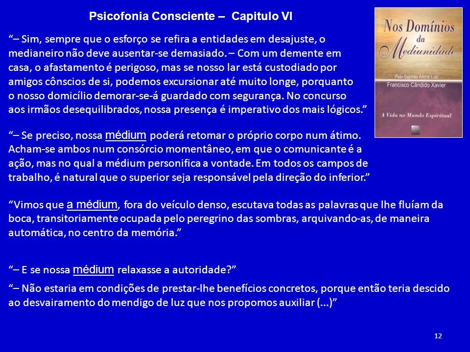 Psicofonia Consciente – Capitulo VI – Sim, sempre que o esforço se refira a entidades em desajuste, o medianeiro não deve ausentar-se demasiado.
