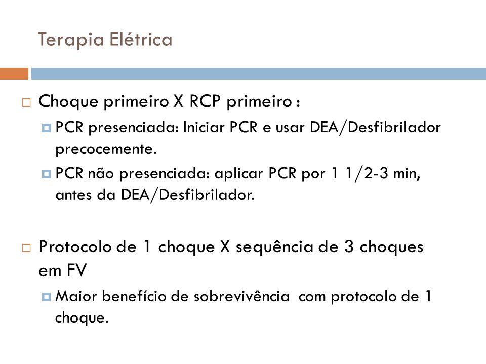 Terapia Elétrica Choque primeiro X RCP primeiro : PCR presenciada: Iniciar PCR e usar DEA/Desfibrilador precocemente. PCR não presenciada: aplicar PCR