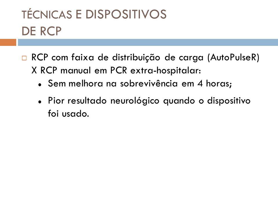 TÉCNICAS E DISPOSITIVOS DE RCP RCP com faixa de distribuição de carga (AutoPulseR) X RCP manual em PCR extra-hospitalar: Sem melhora na sobrevivência