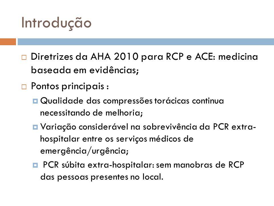 Introdução Diretrizes da AHA 2010 para RCP e ACE: medicina baseada em evidências; Pontos principais : Qualidade das compressões torácicas continua nec