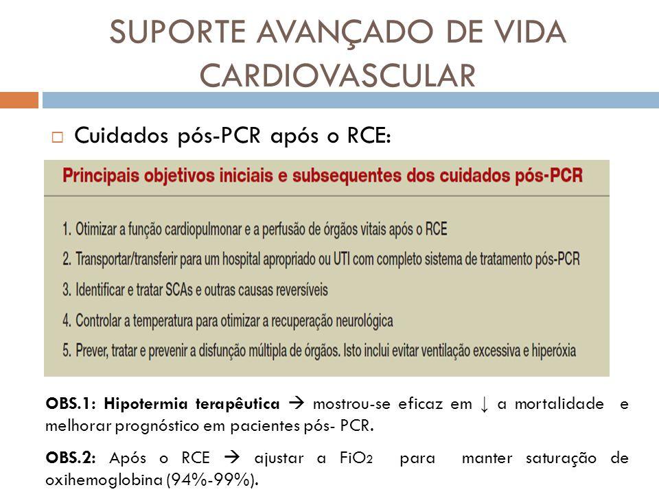 SUPORTE AVANÇADO DE VIDA CARDIOVASCULAR Cuidados pós-PCR após o RCE: OBS.1: Hipotermia terapêutica mostrou-se eficaz em a mortalidade e melhorar progn