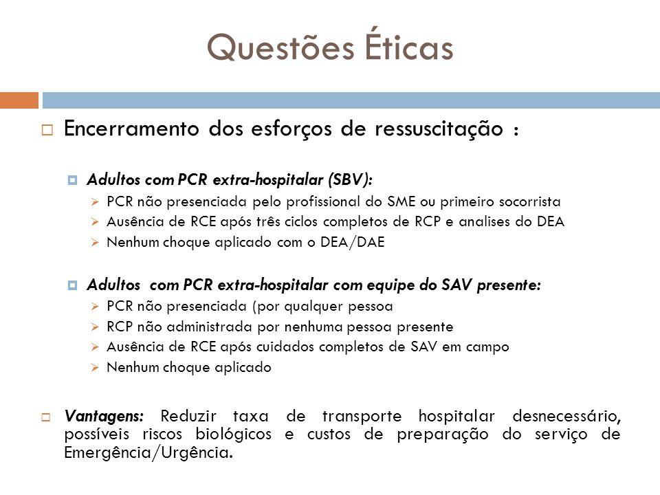 Questões Éticas Encerramento dos esforços de ressuscitação : Adultos com PCR extra-hospitalar (SBV): PCR não presenciada pelo profissional do SME ou p