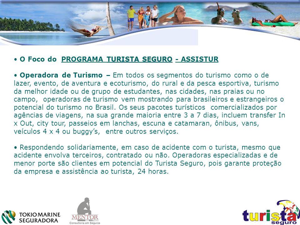 TURISTA SEGURO O Foco do PROGRAMA TURISTA SEGURO - ASSISTUR Operadora de Turismo – Em todos os segmentos do turismo como o de lazer, evento, de aventu