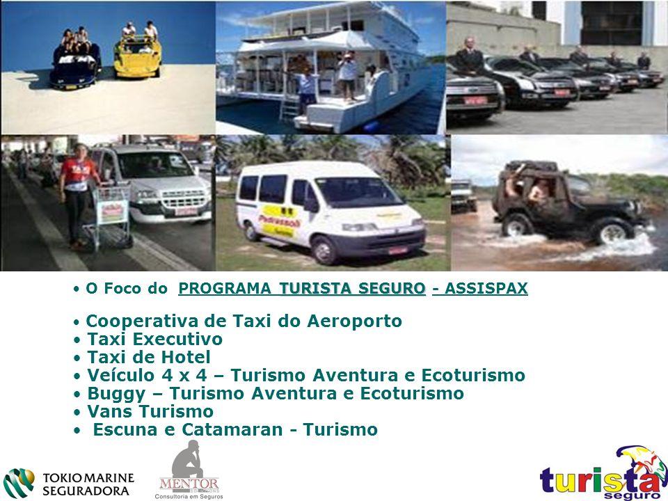 TURISTA SEGURO O Foco do PROGRAMA TURISTA SEGURO - ASSISPAX Cooperativa de Taxi do Aeroporto Taxi Executivo Taxi de Hotel Veículo 4 x 4 – Turismo Aven