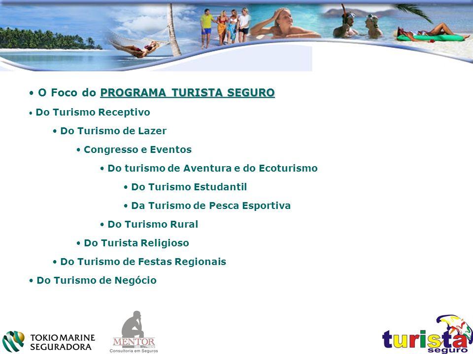 PROGRAMA TURISTA SEGURO O Foco do PROGRAMA TURISTA SEGURO Do Turismo Receptivo Do Turismo de Lazer Congresso e Eventos Do turismo de Aventura e do Eco