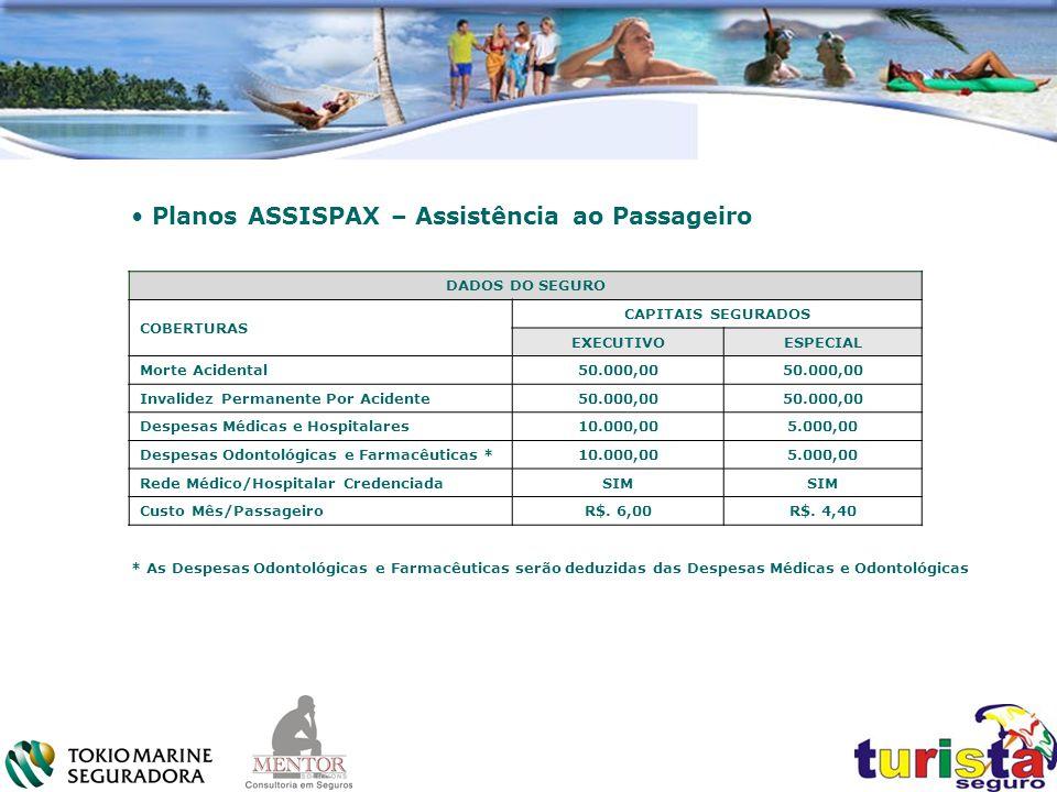. Planos ASSISPAX – Assistência ao Passageiro. DADOS DO SEGURO COBERTURAS CAPITAIS SEGURADOS EXECUTIVOESPECIAL Morte Acidental50.000,00 Invalidez Perm