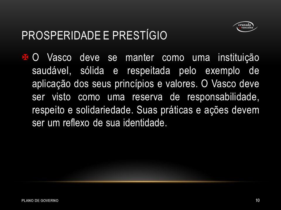 PROSPERIDADE E PRESTÍGIO O Vasco deve se manter como uma instituição saudável, sólida e respeitada pelo exemplo de aplicação dos seus princípios e val