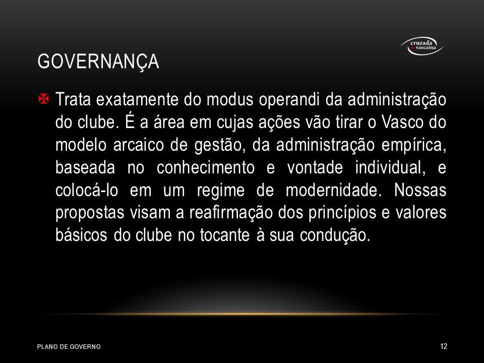 GOVERNANÇA Trata exatamente do modus operandi da administração do clube. É a área em cujas ações vão tirar o Vasco do modelo arcaico de gestão, da adm