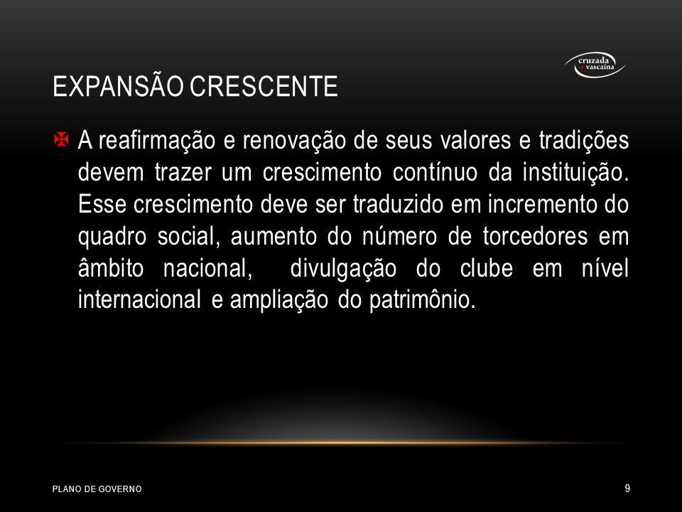 PROSPERIDADE E PRESTÍGIO O Vasco deve se manter como uma instituição saudável, sólida e respeitada pelo exemplo de aplicação dos seus princípios e valores.