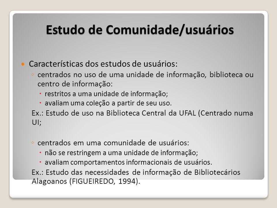 Características dos estudos de usuários: centrados no uso de uma unidade de informação, biblioteca ou centro de informação: restritos a uma unidade de informação; avaliam uma coleção a partir de seu uso.
