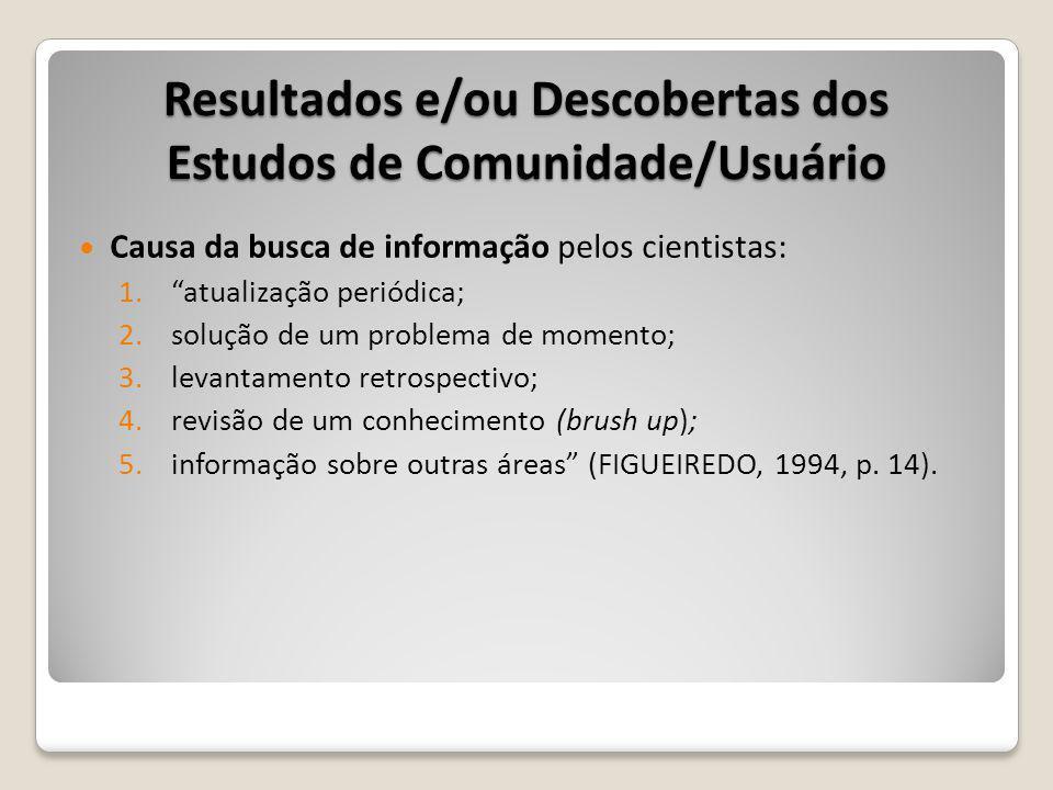 Causa da busca de informação pelos cientistas: 1.atualização periódica; 2.solução de um problema de momento; 3.levantamento retrospectivo; 4.revisão de um conhecimento (brush up); 5.informação sobre outras áreas (FIGUEIREDO, 1994, p.