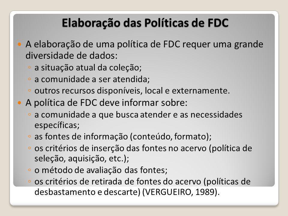 Elaboração das Políticas de FDC A elaboração de uma política de FDC requer uma grande diversidade de dados: a situação atual da coleção; a comunidade a ser atendida; outros recursos disponíveis, local e externamente.